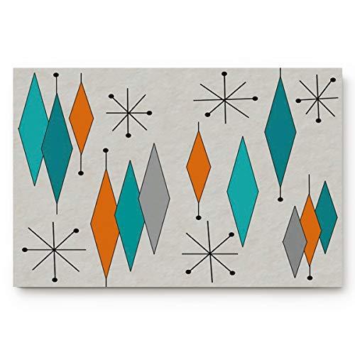 BULING Custom Door Mat Mid-Century Modern Diamond Pattern Indoor Non-Slip Rubber Entrance Rugs for Bathroom 31.5