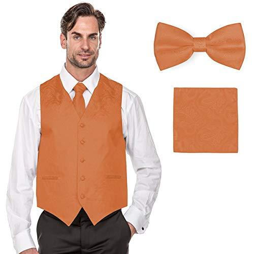 MILANO VICHEE Men's Paisley Design Tuxedo Vest(Including Bowtie, Necktie and Handkerchief Set) Color:Peach ()