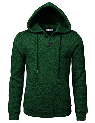 H2H Men Casual Hoodies Long Sleeve Sweatshirts Thermal Pullovers with Pocket Green US L/Asia XL (CMOHOL057) ()