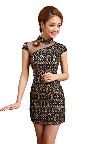 EXCELLANYARD Women's Lace Qipao Cheongsam Chinese Dress 0 Black