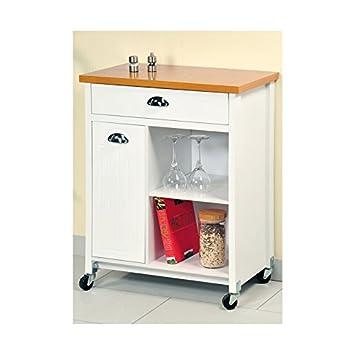 Kesper - Cocina blanca carro con almacenamiento - fregadero de ...