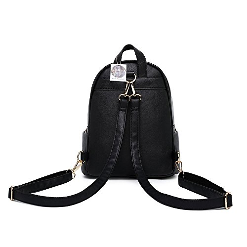 Ladies Rucksack PU WINK Small Leather bag Travel Shoulder Bag Black Backpack KANGAROO Size Women Girls Fashion xSSqXzI