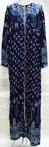Santwo gasa mujeres playa de longitud completa de baño bikini Cover Up vestido Cardigan Tops con Cinturón Style A (blue)