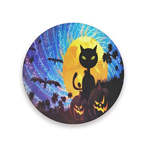 Coasters Halloween Party With Cat Round Cup Mat for Drink Cup Pad for Home/Office/Kitchen/Bar Set of 1/2/4 -