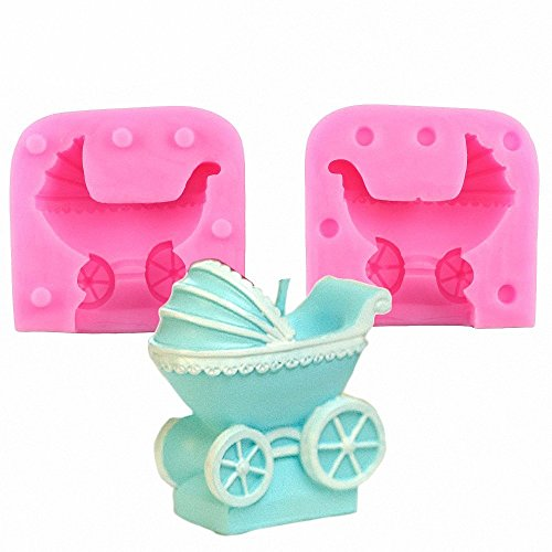 MoldFun 3D Baby Stroller Pram Carriage Baby-car Silicone Mold for Soap Candle Baby Shower Birthday Cake Decorating Fondant Molds Candy Chocolate Gum Paste -