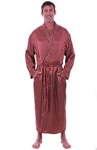 Striped Mens Robe (Del Rossa Men's Satin Robe, Long Lightweight Loungewear, XL Red Striped)