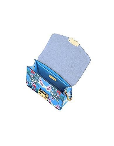 941931 Furla Pelle Azzurro Borsa Spalla Donna A q48xz4PI