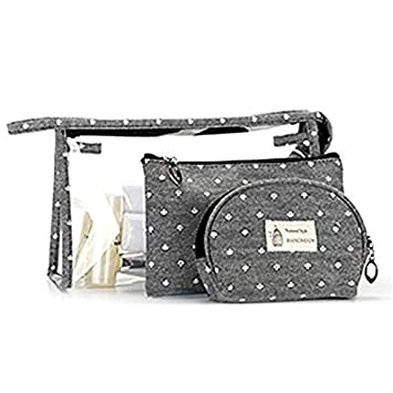 d4862c9b7a54 Set of 3 Different Sizes Cosmetic Bag PVC Portable Cosmetic Bags Makeup and  Toiletry Pouch Purse Bag for...