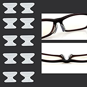Keepons 2.5mm Anti-slip Adhesive Contoured Soft Silicone Eyeglass Nose Pads with Super Sticky Backing - 5 Pair (Clear)