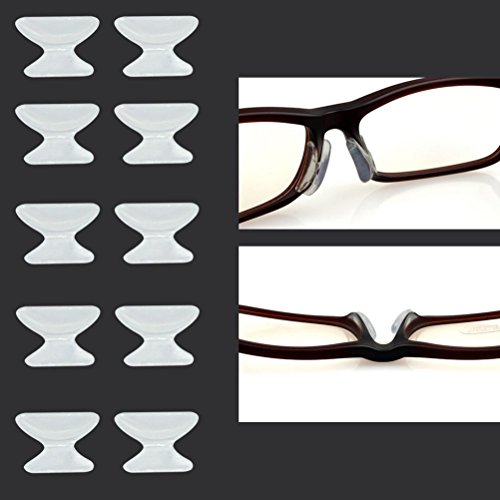 Keepons 2.5mm Anti-slip Adhesive Contoured Soft Silicone Eyeglass Nose Pads with Super Sticky Backing - 5 Pair - Pads Nose Eyeglasses