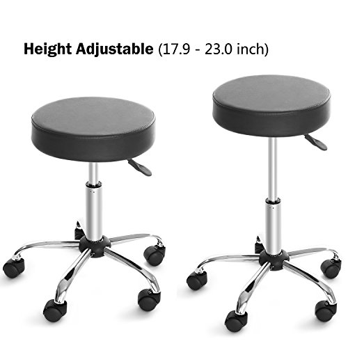 Kemanner 360-Degree Rolling Stool Adjustable Hydraulic Swivel Bar Stool with Wheels for Massage/Medical/Salon/Office/Tattoo by Kemanner (Image #1)