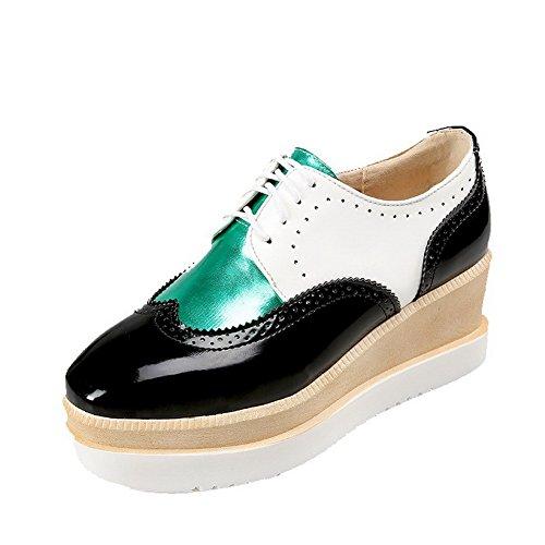 Zapatos PU con Bombas Mujeres Heels Square cerrado Negro Kitten VogueZone009 Toe cordones Cv5fqn