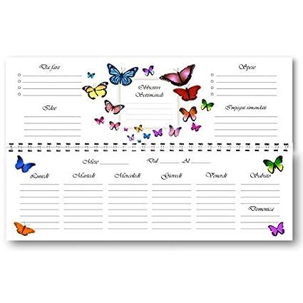 Planificador Agenda de mesa semanal spiralata Mariposas sin ...