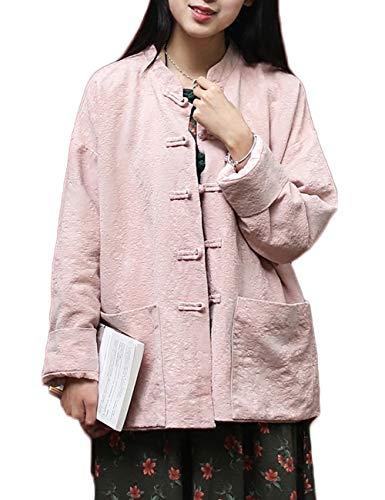 LZJN Women Cotton Linen Lightweight Long Sleeve Blouses Chinese Tang Suit Jacket Tops Pink