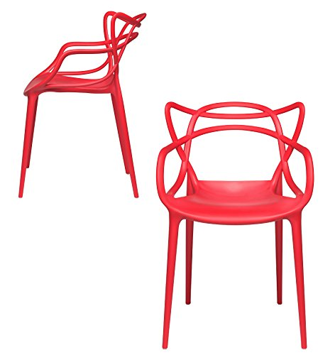 Set of 2 – Masters Entangled Chair – Modern Designer Armchairs for Dining Rooms, Offices and Kitchens (Red)