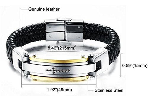 SaySure - vintage genuine leather mens bracelets bangles