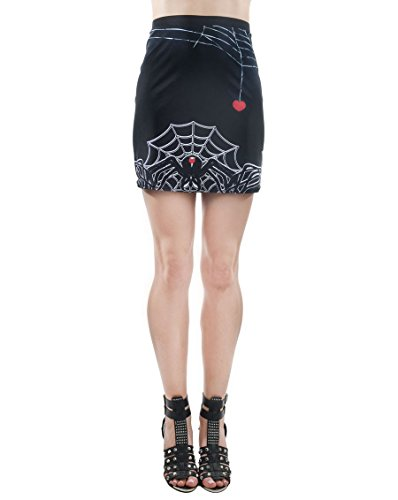 Goth Spider Web (Rat Baby Women's Widow Tattoo Heart Spider Web All Over Print Mini Skirt XX-Large)
