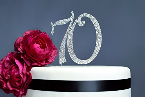 70 Rhinestone Cake Topper | Premium Sparkly Crystal Diamond Gems | 70th Birthday or Anniversary Party Decoration Ideas | Perfect Keepsake (70 Silver) by Crystal Creations