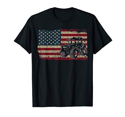 Farm Tractors America Flag T-Shirt I Patriotic Farming Gift -