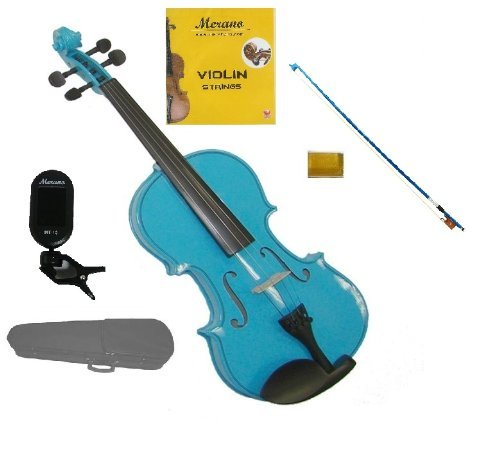Merano 1/2 Size Blue Violin with Hard Case, Blue Stick Bow+Free Rosin+Extra Set of Strings+Merano Chrometic Clip On Tuner