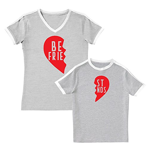 We Match!! - Best Friends (Two Halves of a Heart) - Matching Women's Soccer Ringer T-Shirt & Kids T-Shirt Set (5/6T, Women's 2XL, Heather, Black Print)