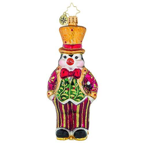 Christopher Radko Hand-Crafted European Glass Christmas Decorative Figural Ornament, Pinstripe Penguin (Ornaments Pinstripe Christmas)