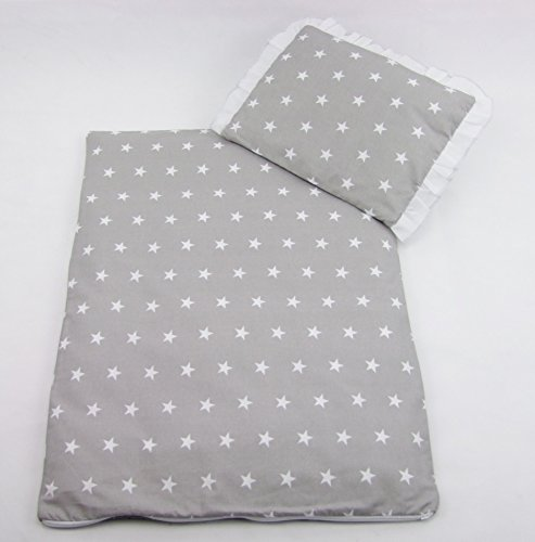 Rawstyle 4 tlg. Set Bezug für Kinderwagen Garnitur Bettwäsche Decke + Kissen + Füllung (Grau mit Weißen Sternen)