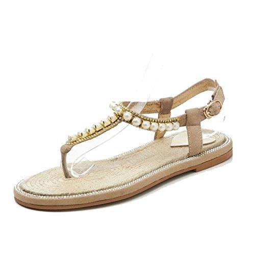 2018 Summer Flat Heel Women Sandals Genuine Leather Flip Flops Women Sandal Casual Flat White Gold,Beige,5