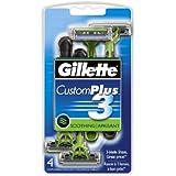 Gillette Custom Plus3 Soothing Men's Disposable Razors, 4 count