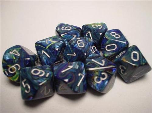 Chessex Dice Sets  Festive Green with Silver (blueeGreen)  Ten Sided Die d10 Set (10) by Chessex
