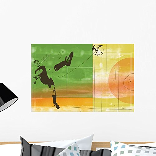 Wallmonkeys Colorful Soccer Action Wall Decal Peel and Stick Graphic WM70721 (24 in W x 16 in (Action Wall Graphic)