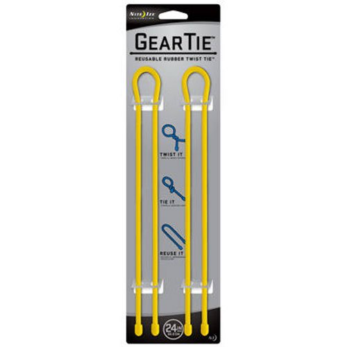 Nite Ize GT24-2PK-16 Gear Tie Reusable 24-Inch Rubber Twist Tie, 2-Pack, Yellow