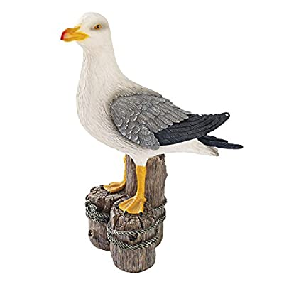 Design Toscano Dockside Seagull Coastal Decor Garden Statue, 17 Inch, Polyresin, Full Color