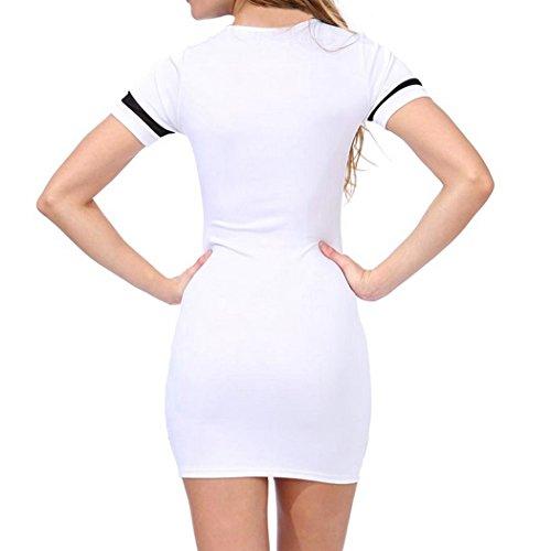 MIOIM® Damen Bodycon Kleid 98 Letters Druck Gitter Partei Abend ...