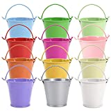 SurePromise 12Pcs Colorful Mini Metal Bucket Candy Favours Box Pail Wedding Party Gifts