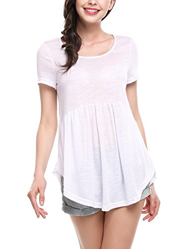 (ELESOL Women Casual Short Sleeve Scoop Neck Ruffle Tunic Top White S)