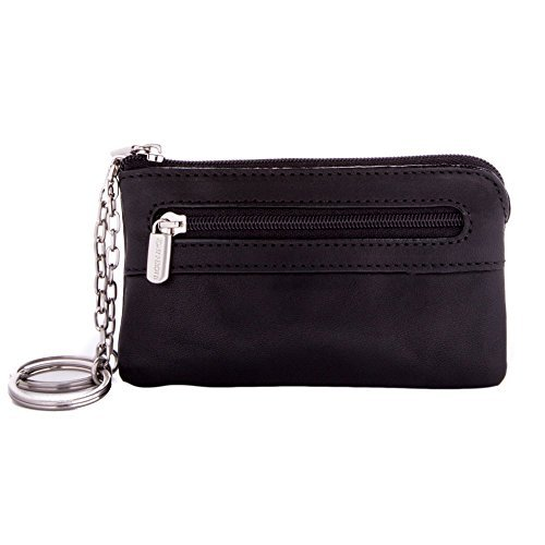Tony Perotti Italian Leather Zippered Purse Pocket Pouch Coin Card Case Fob with Double Car Key Chain Ring, Black