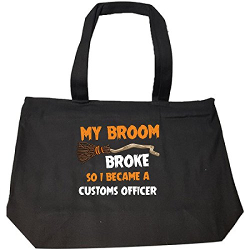 Custom Halloween Tote Bags (My Broom Broke So I Became A Customs Officer Halloween Gift - Tote Bag With Zip)