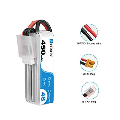 BETAFPV 2pcs 450mah 4S Lipo Battery 75C/150C 14.8V with XT30 16AWG Silicone Wire for Beta85X 4S Micro Drone: Home Audio & Theater