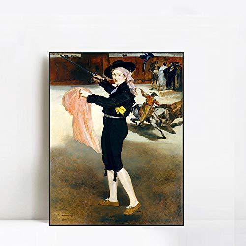 INVIN ART Framed Canvas 1862 Mlle Victorine en Costume d'Espada by Edouard Manet Wall Art Living Room Home Office Decorations(Black Slim ()