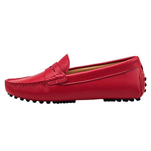 Shenduo Zapatos de cuero - Mocasines cómodos con cordones de moda para mujer D7052 Rojo