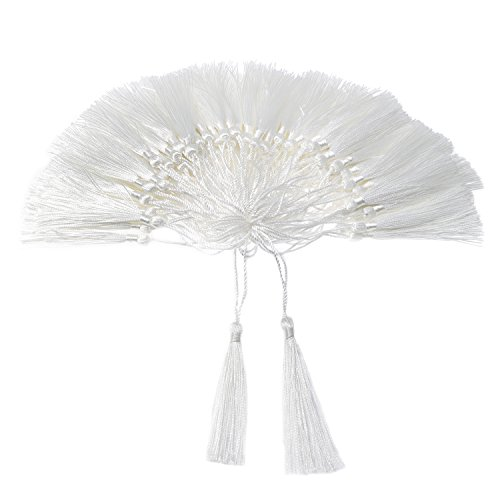 VAPKER 100 Pieces White Tassels 13cm/5-Inch Silky Handmade Soft Tassels Floss Bookmark Tassels with 2-Inch Cord Loop for Jewelry Making, DIY Projects, Bookmarks