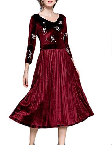 Dress Long Sleeve Stretchy A Red neck Line Sexy V Women¡¯s Velvet Jaycargogo Swing 6AHwqPH