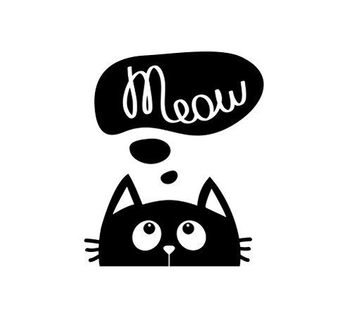JS Artworks Cat Meow Vinyl Decal Sticker (Black)