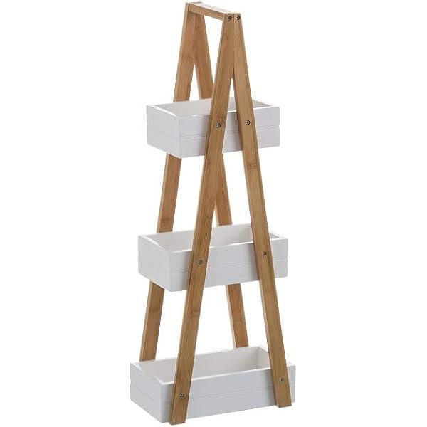 Estantería Blanca de bambú con 3 cestas nórdica para Cuarto de baño Basic - LOLAhome: Amazon.es: Hogar