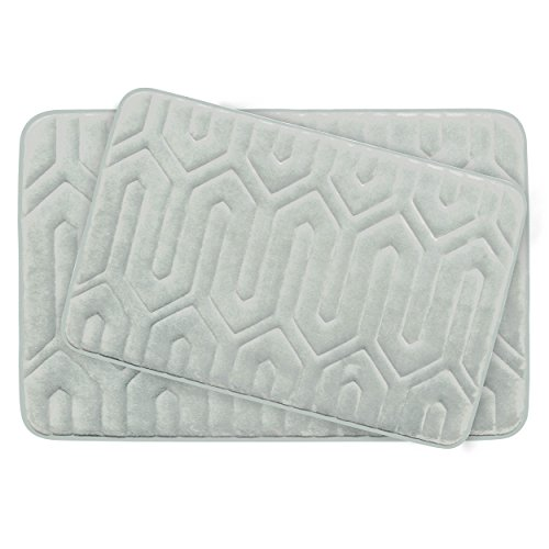 Bounce Comfort Extra Thick Memory Foam Bath Mat Set - Thea Premium Plush 2 Piece Set with BounceComfort Technology, 20 x 32 in. Light Grey -  YMB003730