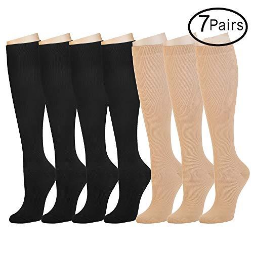 (7 Pairs Compression Socks for Women and Men - Best Athletic, Edema, Diabetic,Varicose Veins,Maternity,Travel,Flight Socks,Shin Splints - Below Knee High (Small/Medium, Assort 3))