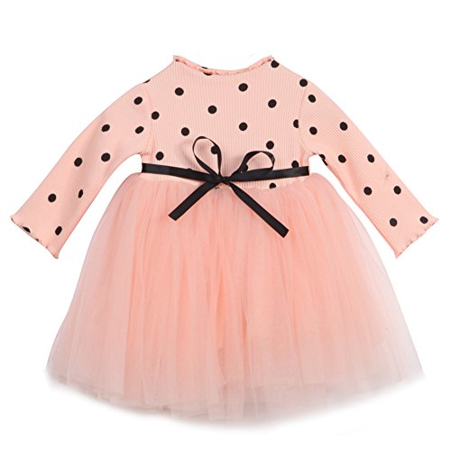 Baby Girls Princess Pink Dress With Belt - 4