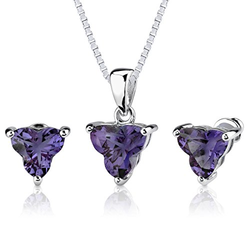 Simulated Alexandrite Pendant Earrings Set Sterling Silver 10.75 Carats Tri Flower Cut