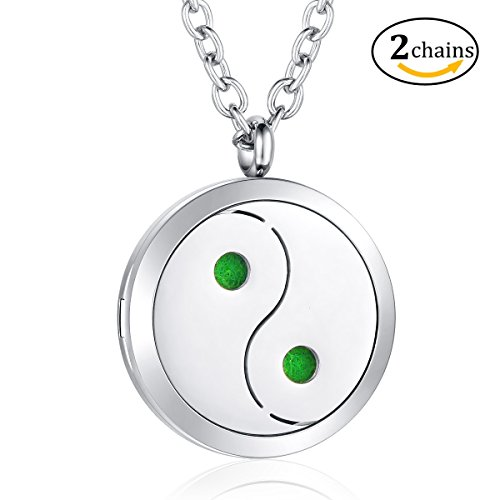 2 chains yin yang essential oil diffuser pendant locket perfume 2 chains yin yang essential oil diffuser pendant aloadofball Images